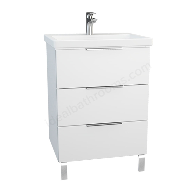Vitra ECORA Wall Hung Washbasin Unit + Basin; 3 Drawer; with Legs; 600mm Wide; White