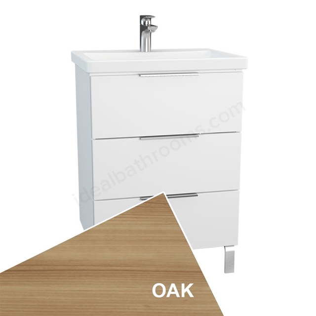 Vitra ECORA Wall Hung Washbasin Unit + Basin, 3 Drawer, with Legs, 600mm Wide, Oak