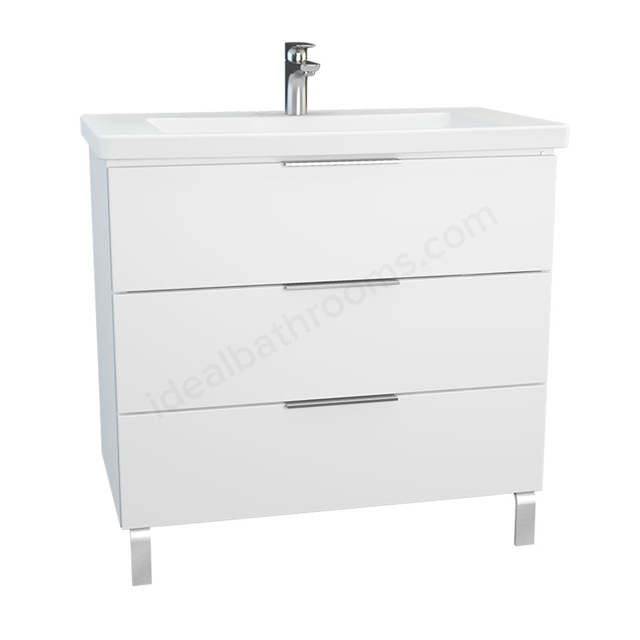 Vitra ECORA Wall Hung Washbasin Unit + Basin, 3 Drawer, with Legs, 900mm Wide, White