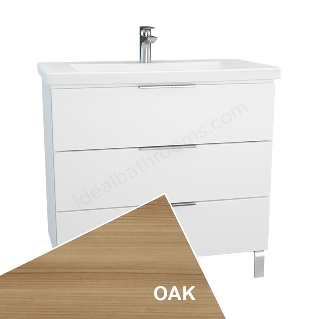 Vitra ECORA Wall Hung Washbasin Unit + Basin, 3 Drawer, with Legs, 900mm Wide, Oak