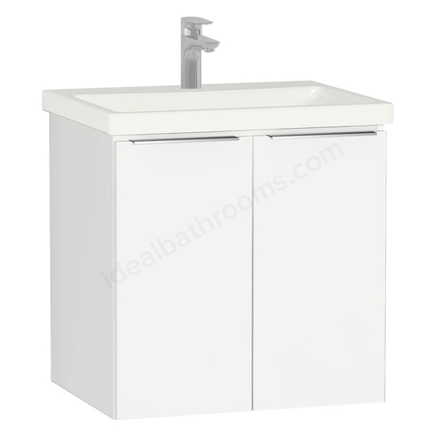 Vitra ECORA Wall Hung Washbasin Unit + Basin, 2 Door, 600mm Wide, White