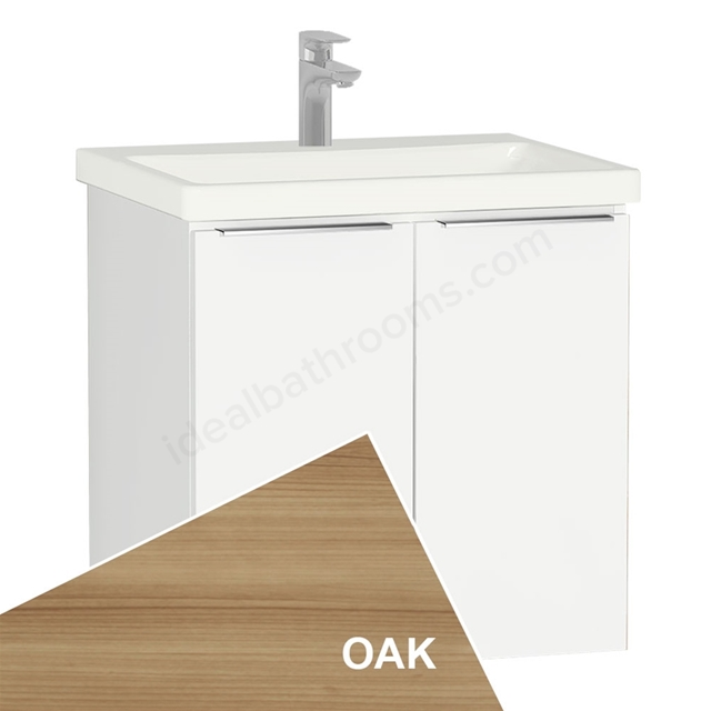 Vitra ECORA Wall Hung Washbasin Unit + Basin; 2 Door; 600mm Wide; Oak