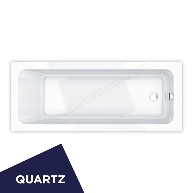 Essential BROMLEY Rectangular Single Ended Bath, Quartz, 1700x700mm, 0 Tap holes, White