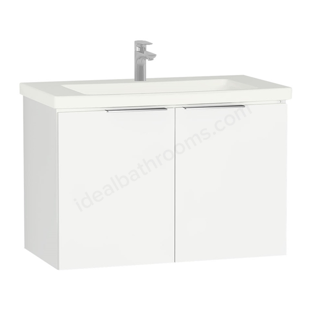 Vitra ECORA Wall Hung Washbasin Unit + Basin; 2 Door; 900mm Wide; White