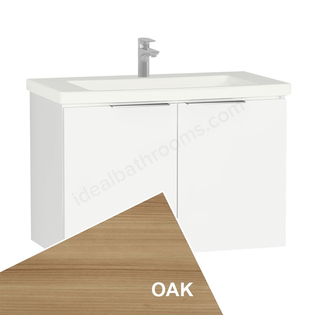 Vitra ECORA Wall Hung Washbasin Unit + Basin, 2 Door, 900mm Wide, Oak