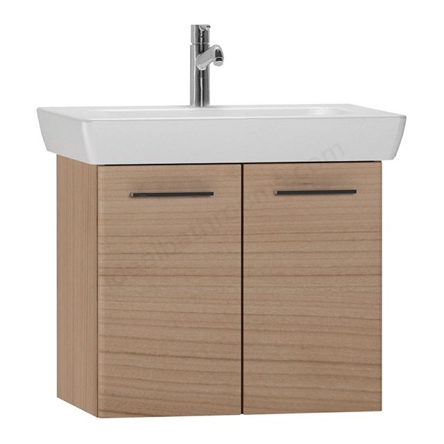 Vitra S20 Wall Hung Washbasin Unit + Basin; 2 Door; 650mm Wide; Golden Cherry