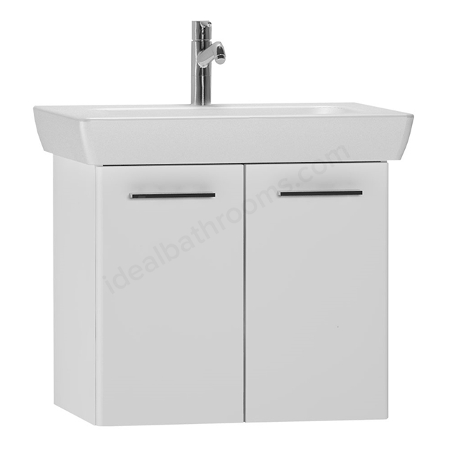 Vitra S20 Wall Hung Washbasin Unit + Basin;  2 Door; 650mm Wide; Gloss White