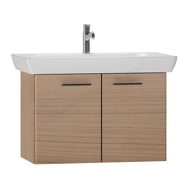 Vitra S20 Wall Hung Washbasin Unit + Basin; 2 Door; 850mm Wide; Golden Cherry