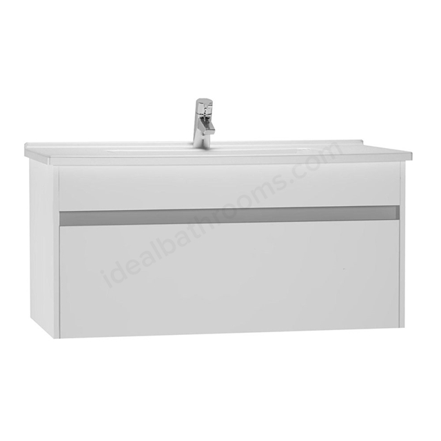 Vitra S50 Wall Hung Washbasin Unit + Basin; 1 Drawer; 1000mm Wide; Gloss White
