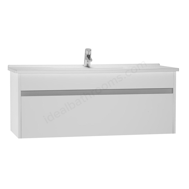 Vitra S50 Wall Hung Washbasin Unit + Basin; 1 Drawer; 1200mm Wide; Gloss White