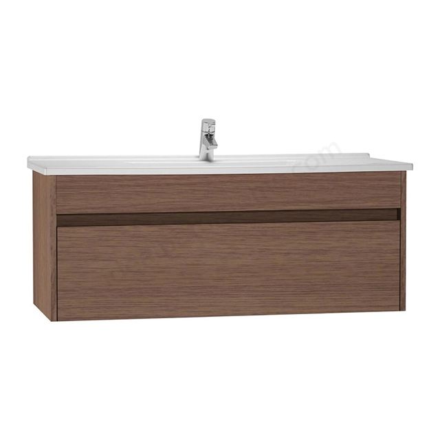 Vitra S50 Wall Hung Washbasin Unit + Basin; 1 Drawer; 1200mm Wide; Oak