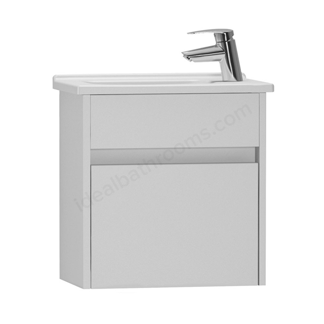 Vitra S50 Wall Hung Washbasin Unit + Basin, 1 Drawer, 500mm Wide, Gloss White