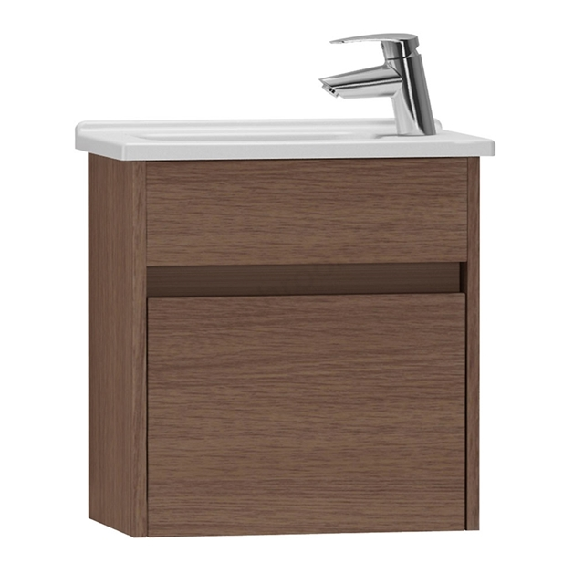 Vitra S50 Wall Hung Washbasin Unit + Basin, 1 Drawer, 500mm Wide, Oak