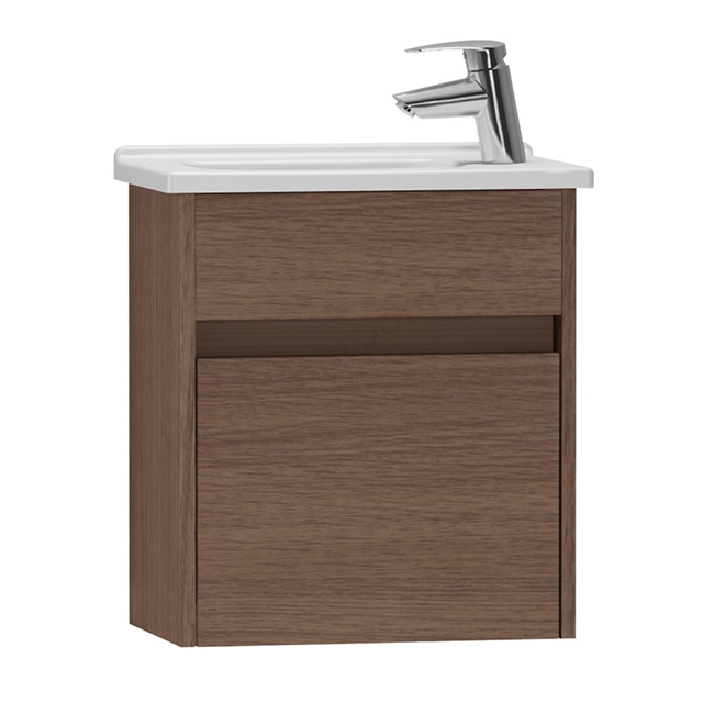 Vitra S50 Wall Hung Washbasin Unit + Basin; 1 Drawer; 450mm Wide; Oak