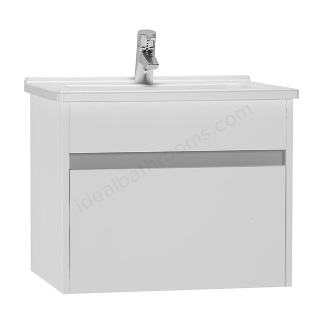 Vitra S50 Wall Hung Washbasin Unit + Basin, 1 Drawer, 600mm Wide, Gloss White