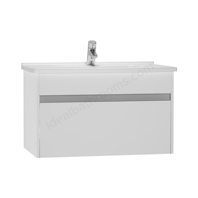 Vitra S50 Wall Hung Washbasin Unit + Basin, 1 Drawer, 800mm Wide, Gloss White