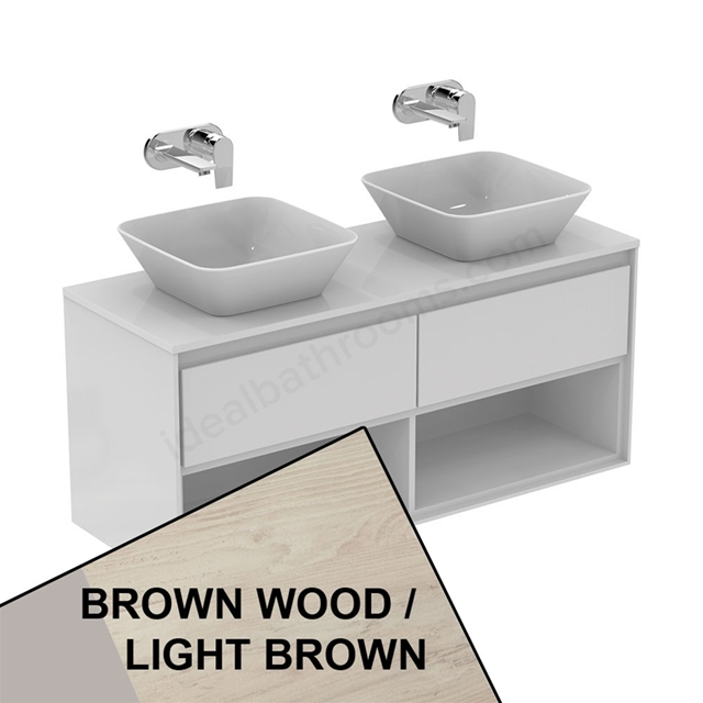Ideal Standard CONCEPT AIR Wall Hung Vanity Unit Only; 2 Drawers + Open Shelf; 1200mm Wide; Light Brown Wood / Matt White