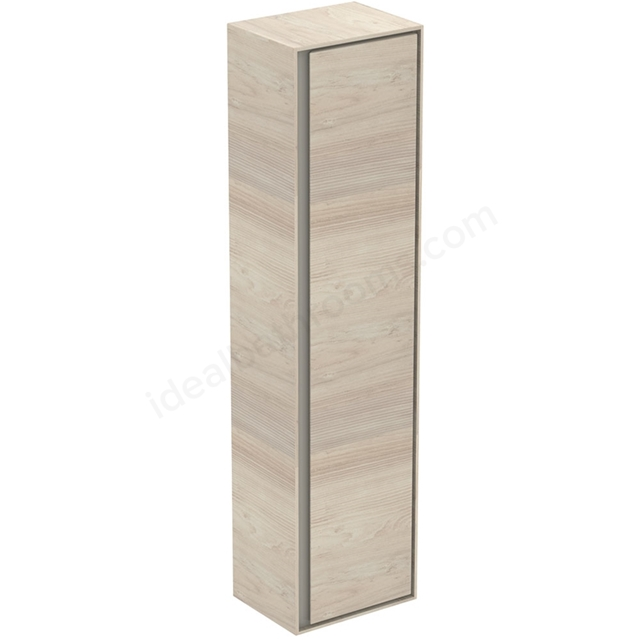 Ideal Standard CONCEPT AIR Wall Hung Tall Column Unit; 1 Door; 400mm Wide; Light Brown Wood / Matt White