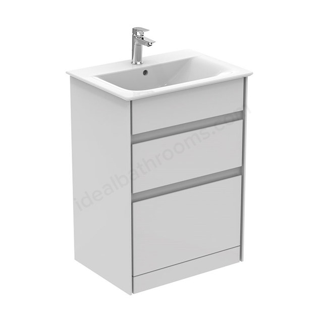 Ideal Standard CONCEPT AIR Floor Standing Vanity Unit Only; 2 Drawers; 600mm Wide; Gloss White / Matt White