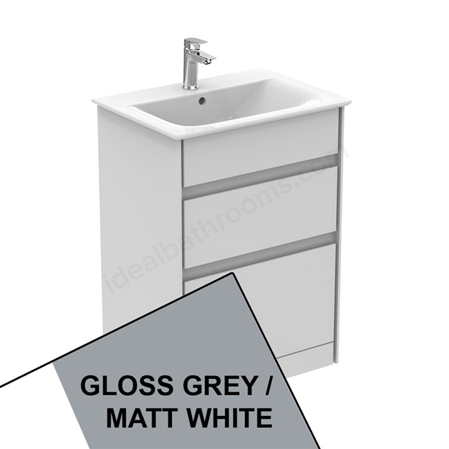 Ideal Standard CONCEPT AIR Floor Standing Vanity Unit Only; 2 Drawers; 600mm Wide; Gloss Grey / Matt White