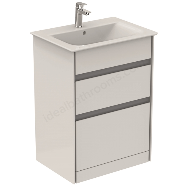 Ideal Standard CONCEPT AIR Floor Standing Vanity Unit Only; 2 Drawers; 600mm Wide; Gloss White / Matt Grey