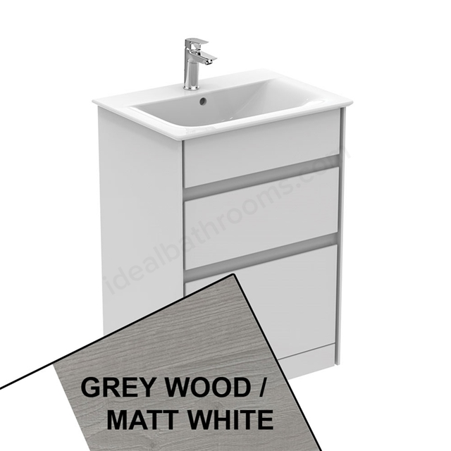 Ideal Standard CONCEPT AIR Floor Standing Vanity Unit Only; 2 Drawers; 600mm Wide; Light Grey Wood / Matt White