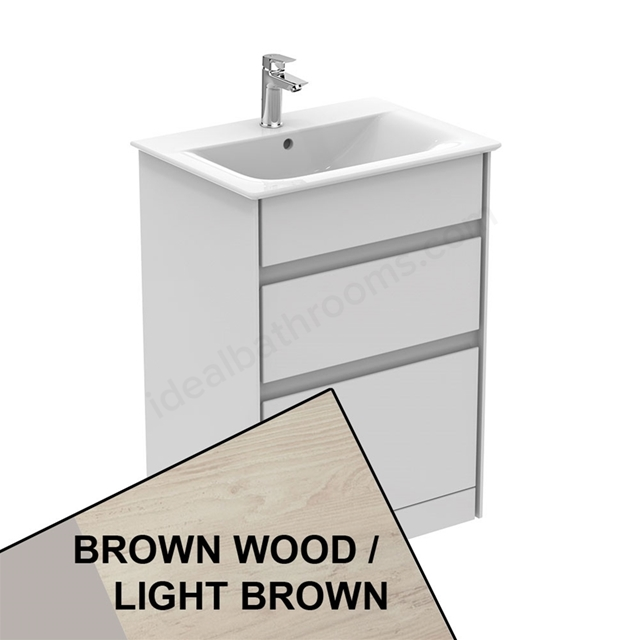 Ideal Standard CONCEPT AIR Floor Standing Vanity Unit Only; 2 Drawers; 600mm Wide; Light Brown Wood / Matt White