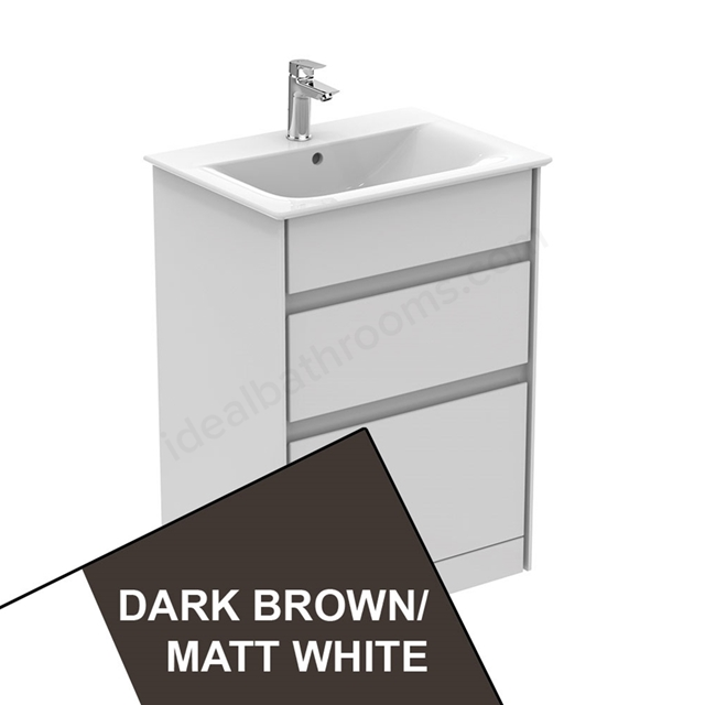 Ideal Standard CONCEPT AIR Floor Standing Vanity Unit Only; 2 Drawers; 600mm Wide; Matt Dark Brown / Matt White