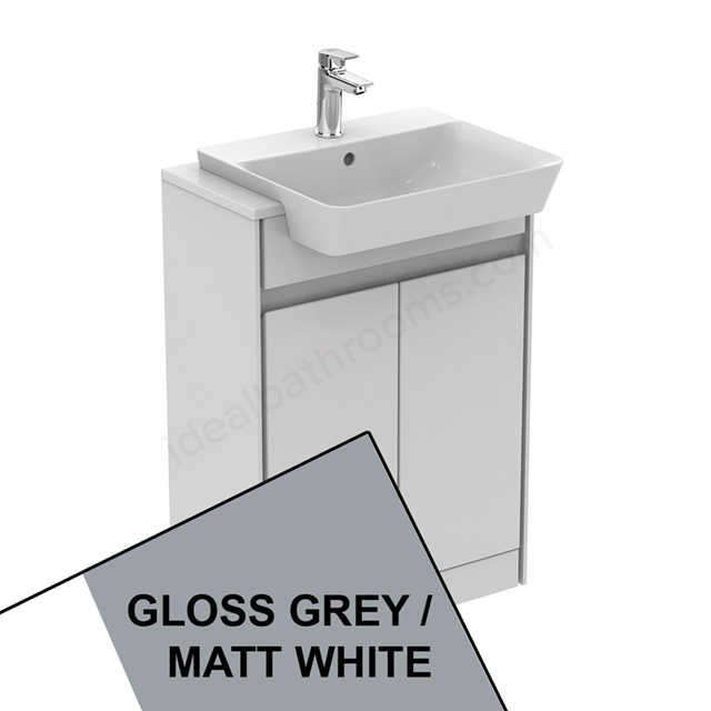 Ideal Standard CONCEPT AIR Floor Standing Semi Countertop Unit Only; 2 Doors; 600mm Wide; Gloss Grey / Matt White