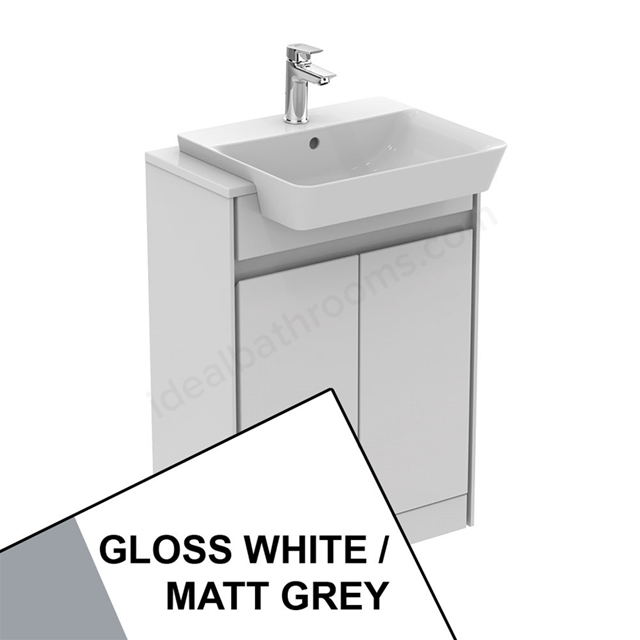 Ideal Standard CONCEPT AIR Floor Standing Semi Countertop Unit Only; 2 Doors; 600mm Wide; Gloss White / Matt Grey