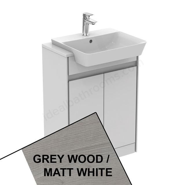 Ideal Standard CONCEPT AIR Floor Standing Semi Countertop Unit Only; 2 Doors; 600mm Wide; Light Grey Wood / Matt White