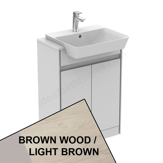 Ideal Standard CONCEPT AIR Floor Standing Semi Countertop Unit Only; 2 Doors; 600mm Wide; Light Brown Wood / Matt White