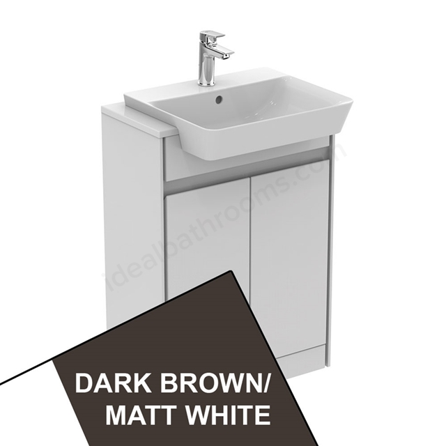 Ideal Standard CONCEPT AIR Floor Standing Semi Countertop Unit Only; 2 Doors; 600mm Wide; Matt Dark Brown / Matt White