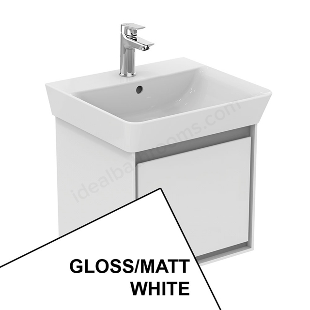 Ideal Standard CONCEPT AIR Cube Wall Hung Vanity Unit Only; 1 Drawer; 500mm Wide; Gloss White / Matt White