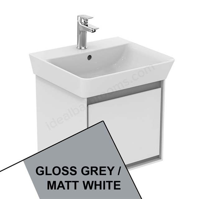 Ideal Standard CONCEPT AIR Cube Wall Hung Vanity Unit Only; 1 Drawer; 500mm Wide; Gloss Grey / Matt White