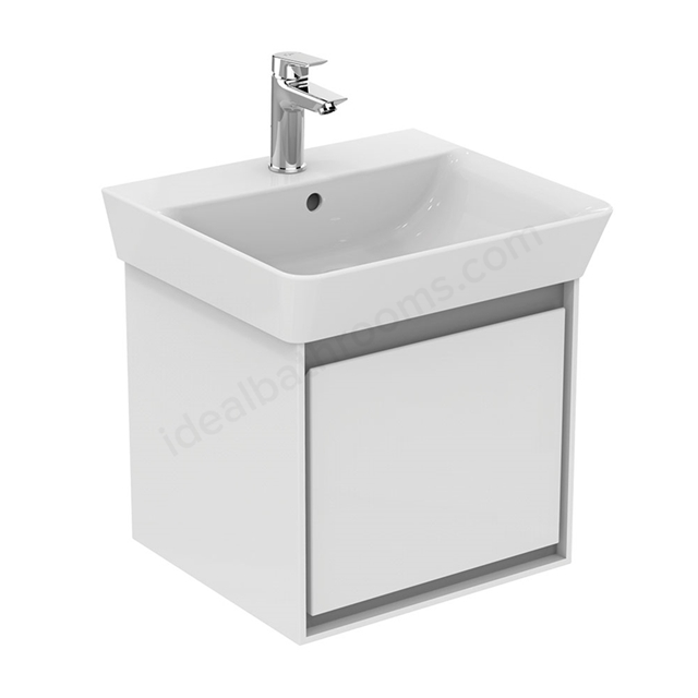 Ideal Standard CONCEPT AIR Cube Wall Hung Vanity Unit Only; 1 Drawer; 500mm Wide; Gloss White / Matt Grey