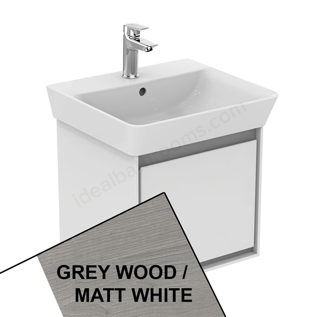 Ideal Standard CONCEPT AIR Cube Wall Hung Vanity Unit Only; 1 Drawer; 500mm Wide; Light Grey Wood / Matt White