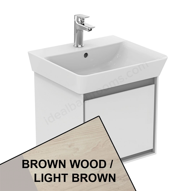 Ideal Standard CONCEPT AIR Cube Wall Hung Vanity Unit Only; 1 Drawer; 500mm Wide; Light Brown Wood / Matt White
