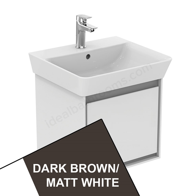 Ideal Standard CONCEPT AIR Cube Wall Hung Vanity Unit Only; 1 Drawer; 500mm Wide; Matt Dark Brown / Matt White