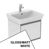 Ideal Standard CONCEPT AIR Cube Wall Hung Vanity Unit Only, 1 Drawer, 550mm Wide, Gloss White / Matt White