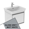 Ideal Standard CONCEPT AIR Cube Wall Hung Vanity Unit Only, 1 Drawer, 550mm Wide, Gloss Grey / Matt White