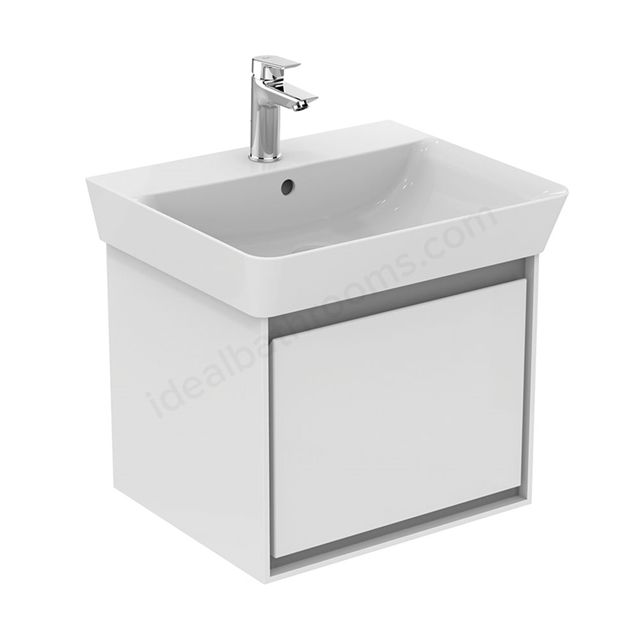 Ideal Standard CONCEPT AIR Cube Wall Hung Vanity Unit Only; 1 Drawer; 550mm Wide; Gloss White / Matt Grey