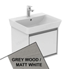 Ideal Standard CONCEPT AIR Cube Wall Hung Vanity Unit Only, 1 Drawer, 550mm Wide, Light Grey Wood / Matt White