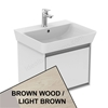 Ideal Standard CONCEPT AIR Cube Wall Hung Vanity Unit Only, 1 Drawer, 550mm Wide, Light Brown Wood / Matt White