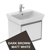 Ideal Standard CONCEPT AIR Cube Wall Hung Vanity Unit Only, 1 Drawer, 550mm Wide, Matt Dark Brown / Matt White
