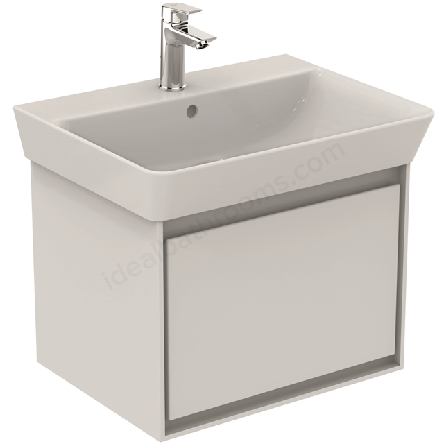 Ideal Standard CONCEPT AIR Cube Wall Hung Vanity Unit Only; 1 Drawer; 600mm Wide; Gloss White / Matt White