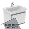 Ideal Standard CONCEPT AIR Cube Wall Hung Vanity Unit Only, 1 Drawer, 600mm Wide, Gloss Grey / Matt White