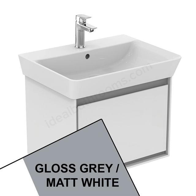 Ideal Standard CONCEPT AIR Cube Wall Hung Vanity Unit Only; 1 Drawer; 600mm Wide; Gloss Grey / Matt White