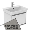 Ideal Standard CONCEPT AIR Cube Wall Hung Vanity Unit Only, 1 Drawer, 600mm Wide, Light Grey Wood / Matt White