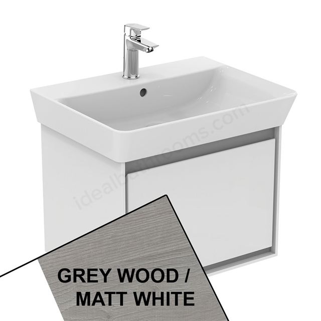 Ideal Standard CONCEPT AIR Cube Wall Hung Vanity Unit Only; 1 Drawer; 600mm Wide; Light Grey Wood / Matt White